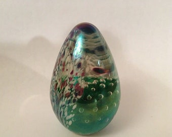 Vintage Signed GES Egg Shaped Art Glass PAPERWEIGHT Bubble & Iridescent Abstract