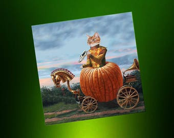 Cat card: my carriage turned into a pumpkin!
