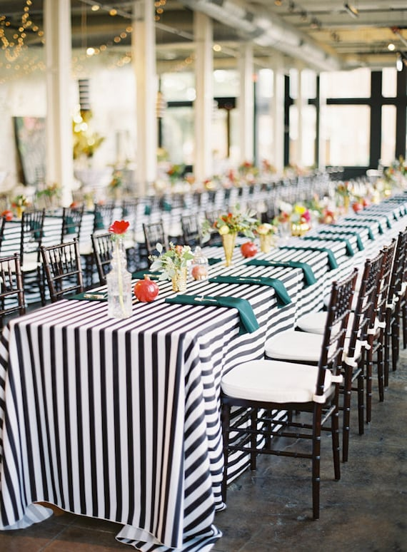 Merveilleux 25% Off 10 Black And White Striped Tablecloth 1 Inch Stripe