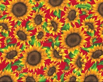 Tissu coton Tournesols sur fond rouge pour patchwork et loisirs créatifs