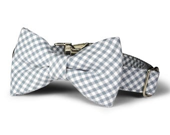 Gray Gingham Bow Tie Dog Collar