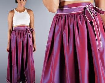 Victor Costa Taffeta Skirt Purple Magenta Iridescent 70s Party Skirt With Tie Belt