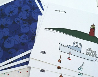 New England Lobster Blueberries Post Card Set