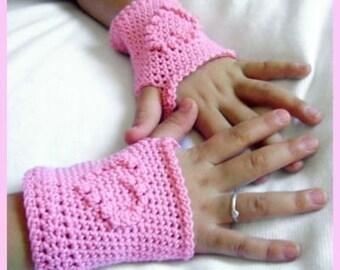 PDF PATTERN Pink Heart Fingerless Glove Crochet Childs Size