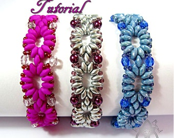 Pdf Tutorial Cadena Bracelet with Super Duo Beads, Beading Pattern English Only,