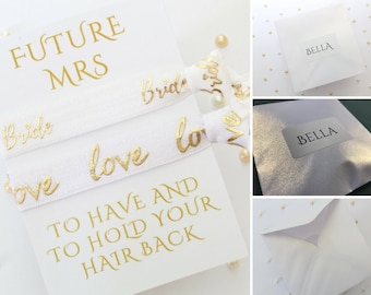 White & Gold Bride Gift - Personalised Gift for Bride - Future Mrs - Bride Hair - Personalized - Bride Proposal - Bride hair tie