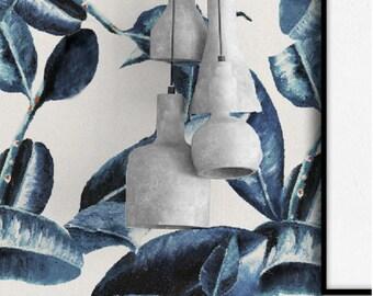 Behang BLUE LEAVES - Uniek design - Premium kwaliteit