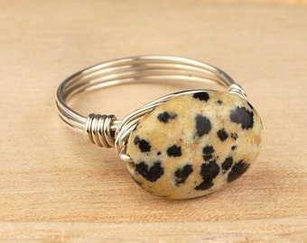 Sale! Spotted Jasper Wrapped Ring- Sterling Silver, Yellow or Rose Gold Filled Wire with Gemstone Bead- Size 4 5 6 7 8 9 10 11 12 13 14