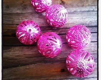set of 6 pink 18 mm filigree metal beads