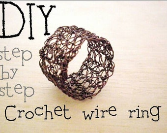 PDF pattern, How to crochet a wire ring, step by step, crochet wire ring DIY tutorial pattern