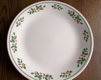 Set of 4 Vintage Corelle Christmas Winter Holly Dinner Plates 1990s