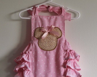Minnie Mouse ruffled romper light pink with gold Minnie