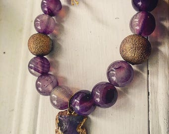 Purple Amethyst and Druzy gemstone bracelet with gold pieces