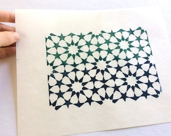linocut - TESSELATION // 8x10 art print // printmaking // block print // blue, green // geometric print // original art // stars // 5x7