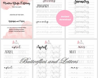 Months of the Year - Handlettering practice worksheets