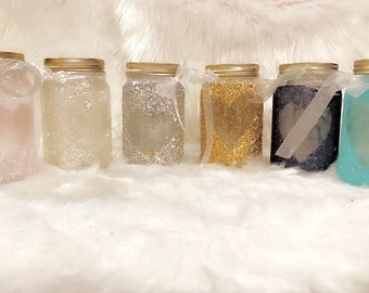 Custom mason jar glitter candles