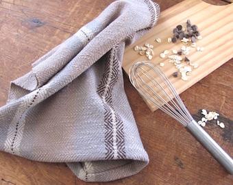 Cook Gift Kitchen Towel, Chef Gift, Gourmet Gift, Kitchen Cooking Gift, Foodie Gift, Baking Gift, Woven Chocolate Malt Brown Gray Dish Towel