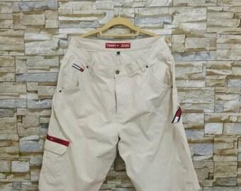 MEGA SALE 90's Vintage Tommy Hilfiger Short Pants Large White Denim Tommy Jeans Waist 36