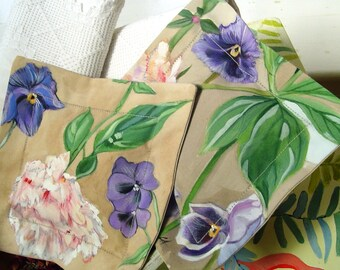 Floral Drawer Sachet Pair Hand Painted Purple Pansies & Peony 7 x 7 Lavender and Roses Mother's Day Easter Birthday Gifts Bedside Table