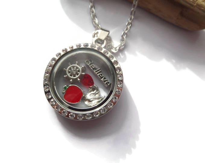 Once Upon a Time floating locket, ouat glass locket, once time jewelery, fan gift, floating charm locket, once time necklace, sandykissesuk