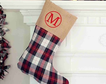 Personalized  Plaid and Burlap Stocking - Burlap Stocking - Plaid Stocking