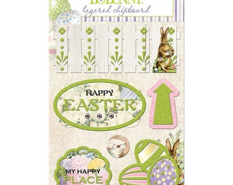 BoBunny - Cottontail Collection - Layered Chipboard Stickers