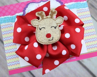 Baby Bows, Toddler Bows, Girls Hair Bows, Hair Clip, Christmas Hair Bows, Rudolph Reindeer Hair Bows, Holiday Hair Bow, Red Bow, 4 Inch Bow