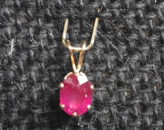 Deep Pinkish Red Natural Ruby in 14kt gold fill pendant