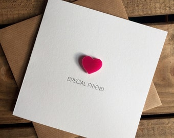 Special Friend Card with Pink Heart detachable magnet keepsake