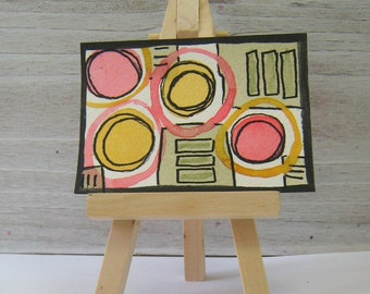 Abstract Retro Pattern - Original Mixed Media Watercolor Art - Artist Trading Card