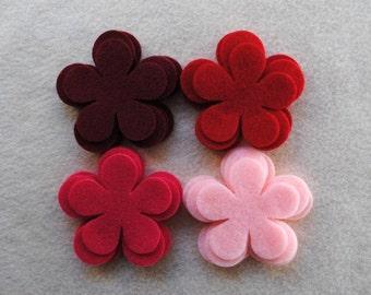 24 Piece Die Cut Felt Flowers, Reds, Flower Style No. 5A
