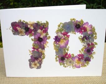 70th Birthday Card Mum, 70th Birthday Card Dad, 70th Birthday Card Nan, Friend 70th Birthday, English Pressed Flower PRINT