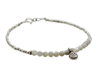 Mother of Pearl and Hill Tribe Sterling Silver Strand Bracelet with Charm