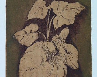 Leaves ivy plant, Original Etching, Monotype