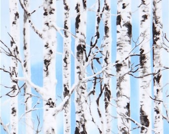 214009 blue with off-white grey tree fabric Timeless Treasures