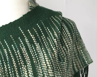 Let's be friends #1 Handwoven Scarf (green)