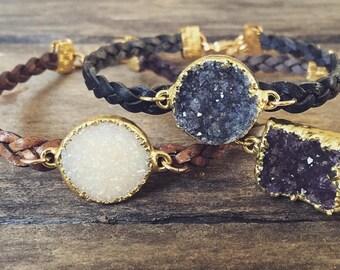 Druzy Bracelet Drusy Quartz Braided Leather Natural Antique Brown Wrap