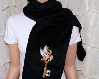 Flying SteamPunk Skeleton Gear Key Embroidered Black Winter Fleece Scarf MTCoffinz