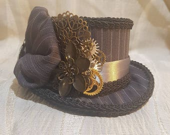 Steampunk oval Mini Top Hat, mad hatter, Alice in wonderland,  fascinator, pinstripe , Victorian, cameo, gangster