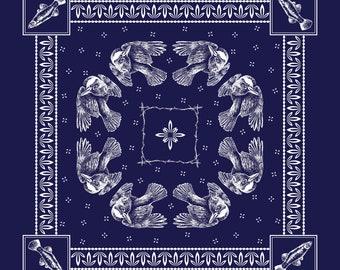 PRE-ORDER - Belted Kingfisher Bandana/Handkerchief - Kingfisher, Bird, Hunter - Wildlife Classic Paisley Inspired - 100% Cotton