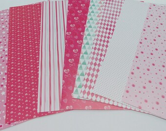 8 different sheets of scrapbooking format A4 210 grams