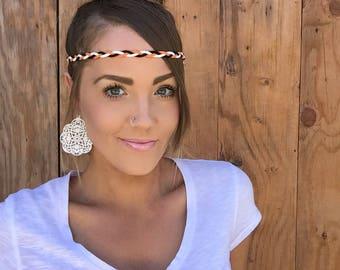 San Francisco Giants Braided Suede Leather Headband    SF Black Orange White Bohemian Baseball Fashion Girl Hair w/ Adjustable Ribbon Ties
