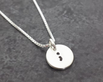Semicolon Necklace - Sterling Silver Semi colon Necklace
