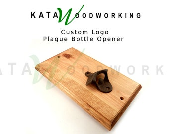 Custom Logo Plaque Wall-Mount Bottle Opener - Handmade