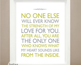 Boy Nursery wall art, No one knows the strength of my love, Baby boy Gift, Cute Baby Gift, Personalized Baby Art, Strength Of My Love  Quote