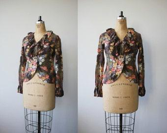 vintage 1940s blazer / 40s floral silk jacket / ruffled collar blazer / size m med medium