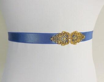 Royal blue Elastic Waist Belt. Gold vintage style filigree centerpiece. Elastic skinny dress belt.