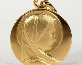 18k Gold St. Mary Pendant Medallion French Vintage