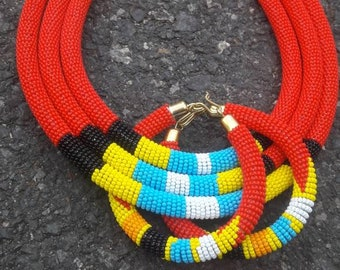 3 in 1 red necklace-African beaded necklace-masai handmade necklace-red beaded necklace with matching bracelets-gift for her-3 strand