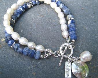 Sodalite and Pearl Bracelet, Sodalite Bracelet, Pearl Bracelet, Layered Bracelet, Nature Jewelry, Leaf Charm Bracelet, SweetTaBou
